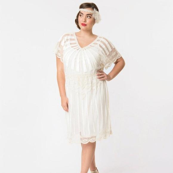 Plus Size 1920s Style White Bead Embellished Deco
